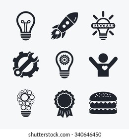 Award achievement, spanner and cog, startup rocket and burger. Light lamp icons. Circles lamp bulb symbols. Energy saving with cogwheel gear. Idea and success sign. Flat icons.