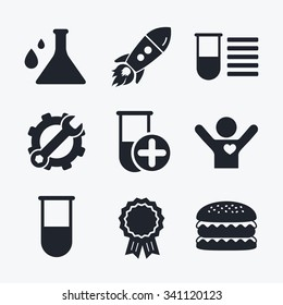 Award achievement, spanner and cog, startup rocket and burger. Chemistry bulb with drops icon. Medical test signs. Laboratory equipment symbols. Flat icons.