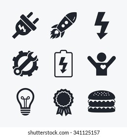 Award achievement, spanner and cog, startup rocket and burger. Electric plug icon. Lamp bulb and battery symbols. Low electricity and idea signs. Flat icons.