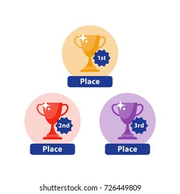 Award ceremony, first second and third place prize, golden bowl, high achievement, best performance, competition final, shiny goblet, vector icons, flat illustration