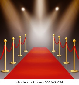 Award ceremony red carpet and golden stanchions illuminated by spotlights 3d realistic vector illustration on night background. Festive event or celebrity entrance concept.