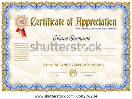 Award Certificate Blank Template Vintage Frame Stock Vector Royalty