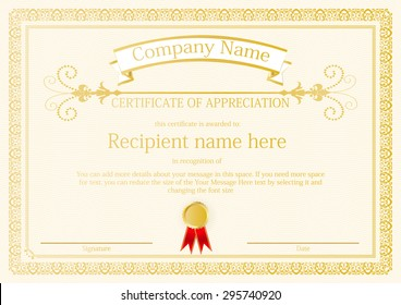 Award Certificate frame template design vector