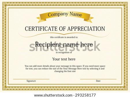 award certificate frame template design vector stock vector royalty