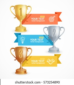 Award Cup Menu Infographic Option Banner Horizontal Card for Business. Vector illustration