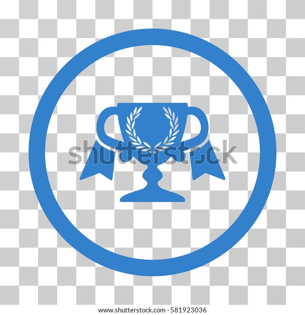 Award Cup vector pictograph. Illustration style is a flat iconic cobalt symbol on a transparent background.