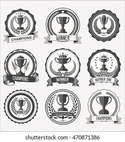 Award cups and trophy icons with laurel wreaths collection