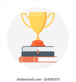 Award, education theme, flat style, colorful, vector icon for info graphics, websites, mobile and print media.