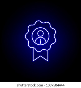Award, employee, worker icon. Elements of Human resources illustration in neon style icon. Signs and symbols can be used for web, logo, mobile app, UI, UX on white background