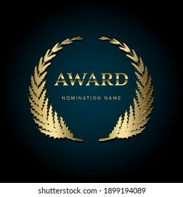 Award gold emblem template with place for nominee name