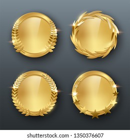 Award golden blank medals 3d realistic illustration. First place medals with laurel leaves. Certified. Quality blank, empty badge, emblem set.