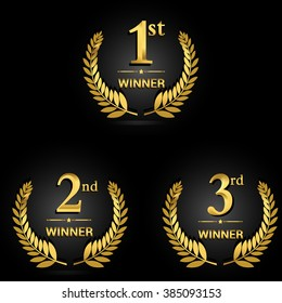 Award golden label of First, second and third winner. Vector set