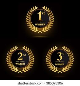 Award golden label of First, second and third winner. Vector set