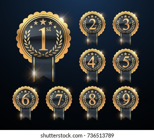 Award golden label of first, second and third or 1st, 2nd, 3rd, 4th, 5th, 6th, 7th, 8th and 9th winners. Set of gold vector numbers.