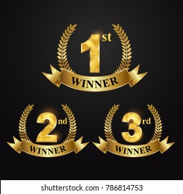Award golden label of First, second and third winner. Set award winner first, second third and gold ribbon.