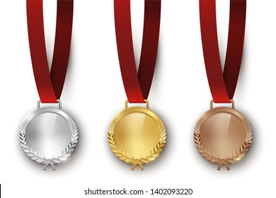 Award golden, silver and bronze medals with ribbon 3d realistic illustration . First, second and third place medals with laurel leaves. Certified. Quality blank, empty badge, emblem with red ribbons.