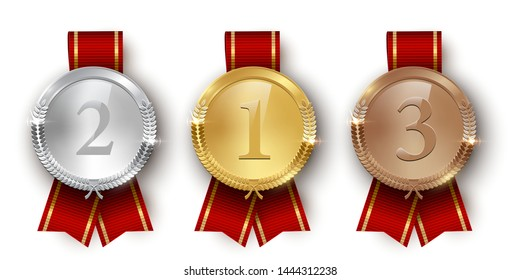 Award golden, silver and bronze medals with ribbon 3d realistic illustration. First, second and third place medals with laurel leaves. Certified. Quality blank, empty badge, emblem with red ribbons.