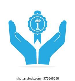 Award in hand icon, recommend, appreciate concept