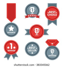Award icon collection vector isolated on grey background flat design style. First place leadership award with ribbon. Champion achievement medallion. Success symbol emblem winner sign.