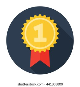 Award Icon Flat. For user interface. Golden stamp. 1st place