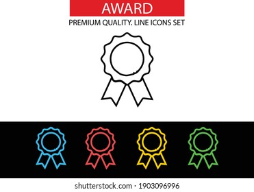 Award icon. Medal, achievement concepts. Premium quality graphic design. Modern signs, outline symbols collection, simple thin line icons set for websites, web design, mobile app. Vector illustration.
