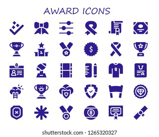 award icon set. 30 filled award icons. Simple modern icons about  - Success, Ribbon, Control, Certificate, Trophy, Podium, Medal, Badge, Accreditation, Movie, School, Shield