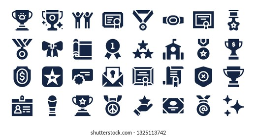 award icon set. 32 filled award icons. on blue background style Simple modern icons about  - Trophy, Medal, Shield, Accreditation, Ribbon, Movie, Success, Carpet, Reward, Certificate