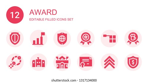 award icon set. Collection of 12 filled award icons included Shield, Success, Medal, Offside, Wreath, School, Certificate, Rank, Award
