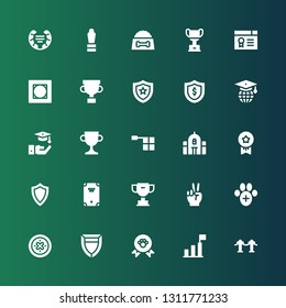 award icon set. Collection of 25 filled award icons included Red carpet, Success, Winner, Shield, Veterinary, Victory, Trophy, Billiard, Medals, School, Offside, Graduation, Vignette