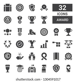award icon set. Collection of 32 filled award icons included Ribbon, Shield, Desinfectant, School, Graduation, Goblet, Quality, Bookmark, Success, Fame, Offside, Trophy, Laurel
