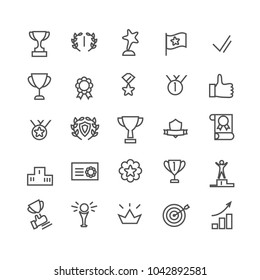 Award icon set. Line art. Includes such icons as trophy cup, goal, success, thumbs up. Editable stroke 48X48 pixel perfect. Vector illustration for Your design.