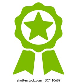 Award icon. Vector style is flat symbols, eco green color, rounded angles, white background.