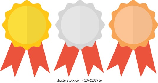 Award icon,medal with ribbons flat style vector illustration,collection of award icons on white background