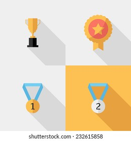 Award icons. Flat design style modern vector illustration. Isolated on stylish color background. Flat long shadow icon. Elements in flat design.