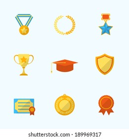 Award icons flat set of winner first place laurel wreath isolated vector illustration