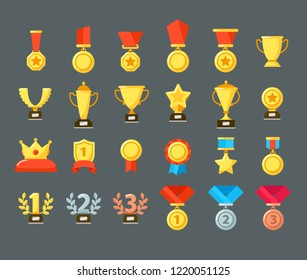 Award icons. Golden trophy cup, reward goblets and winning prize. Flat medals awards or leader achievement awarding medal. Victory champion badge emblem isolated vector symbols set