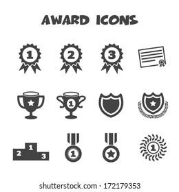 award icons, mono vector symbols