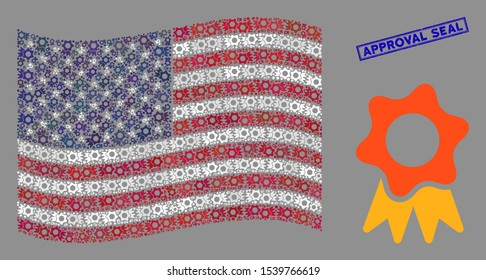 Award icons are organized into American flag collage with blue rectangle rubber stamp seal of Approval Seal caption. Vector concept of American waving flag is created with award elements.