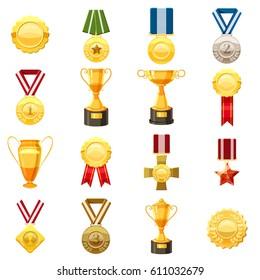 Award icons set. Flat illustration of 16 award vector icons for web