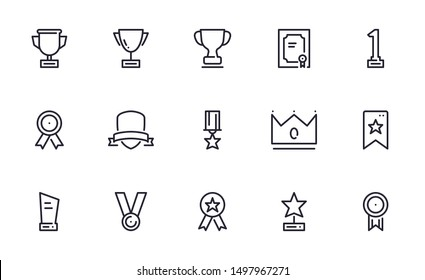 Award icons set outline style