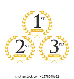 Award label of First, second and third winner inside gold laurel wreath