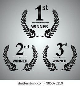 Award label of First, second and third winner. Vector set