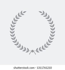 Award laurel icon flat