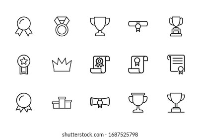 Award line icons set. Stroke vector elements for trendy design. Simple pictograms for mobile concept and web apps. Vector line icons isolated on a white background.
