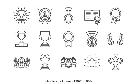 Award line icons. Winner medal, Victory cup and Trophy reward. Achievement linear icon set.  Vector