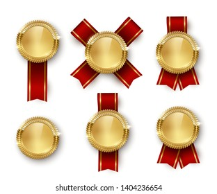 Award medal 3d realistic vector color illustration set. Reward. Golden medals with red ribbons. Certified product. Quality badges, emblems with red ribbon. Winner trophy. Isolated design element set
