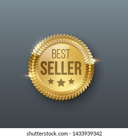 Award medal 3d realistic vector color illustration. Reward. Best seller golden medal with stars. Certified product. Quality badge, emblem. Winner trophy. Isolated design element