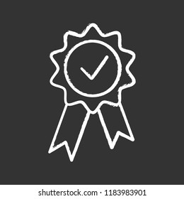 Award medal chalk icon. Reward. Best choice medal. Certified. Seal with ribbon and check mark. Quality badge. Isolated vector chalkboard illustration