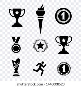 Award medal flat icons vector isolated on transparent background
