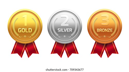 Award medal gold silver and bronze. Champion metal ward for winner. Vector achievement.